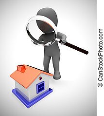 moyens, propriété, recherche, achat, concept, propriété, maison, -, regarder, 3d, illustration