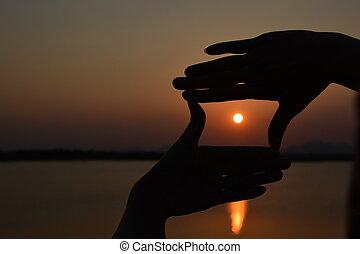 moyens, soleil, symbole, nature, main, fond, cadre