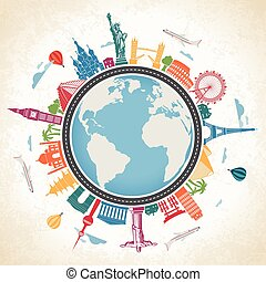 moyens, transpor, globe, entouré, célèbre, la terre, repères