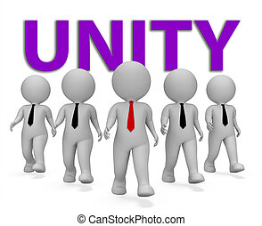 moyens, travail, rendre, unité, hommes affaires, équipe, homme affaires, 3d