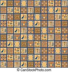 mozaïek, bruine , tegels, plein, egyptisch, keramisch, pattern., seamless, gele, hand, maid, vector, oosters, hi?roglieven, versieringen, groente, grijs, souvenir, folk-music
