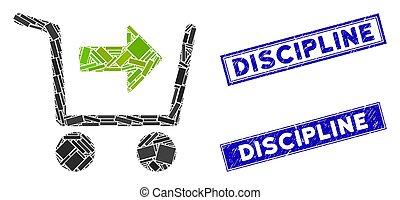 mozaïek, discipline, postzegel, rechthoek, zegels, aankoop, kar, nood