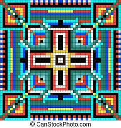 mozaïek, gekleurde, geometrisch, pleinen, seamless, ornament