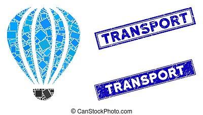 mozaïek, grunge, rechthoek, vervoeren, watermarks, aerostat