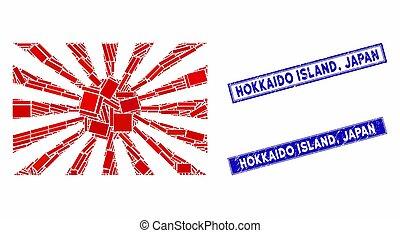 mozaïek, postzegel, rechthoek, japan, zegels, hokkaido,...