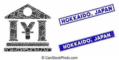 mozaïek, rechthoek, japan, postzegels, bank, yen, gebouw,...