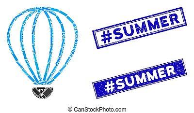 mozaïek, rechthoek, #summer, aerostat, postzegels, grunge