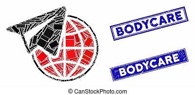 mozaïek, rechthoek, zegels, gekraste, freelance, bodycare