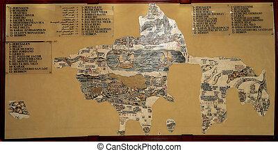 mozaïek, reproductie, van, antieke , madaba, kaart, van,...
