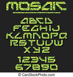 mozaïek, vector, pixel, font.