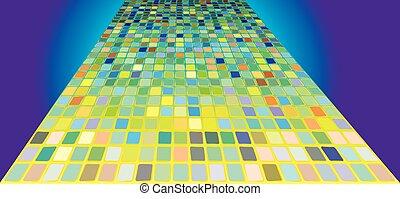 mozaic, resumen, verde, perspectiva, camino
