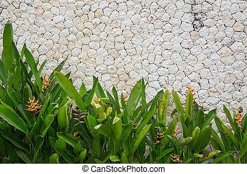 mozaik, muur, dichtbegroeid boven