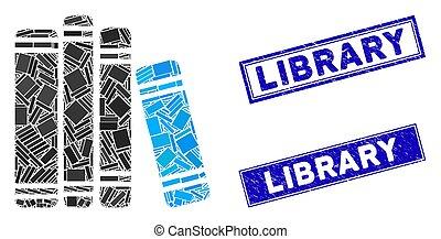 mozaika, grunge, tłoczyć, prostokąt, nerpy, książka, biblioteka