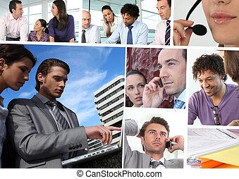 mozaika, handlowy, pracujące ludzie