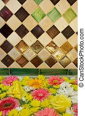 mozaika, květiny, dávný, grafické pozadí, barvitý