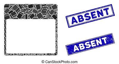 mozaika, nieobecny, grunge, prostokąt, nerpy, szablon, strona, kalendarz