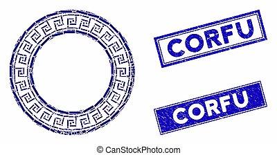mozaika, okrągły, grunge, prostokąt, ułożyć, grek, pieczęcie, corfu, klasyk
