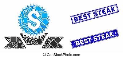 mozaika, prostokąt, zdrapany, pieczęcie, najlepszy, bankowość, nagroda, stek