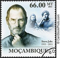 MOZAMBIQUE - 2011: shows portrait of Steve Jobs (1955-2011)...