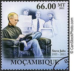 MOZAMBIQUE - 2011: shows portrait of Steve Jobs (1955-2011)