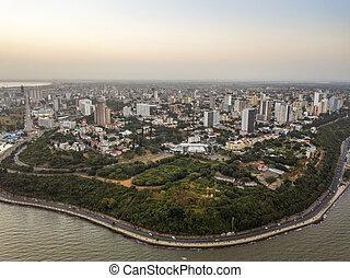 mozambique, beau, vue, côte, aérien, maputo