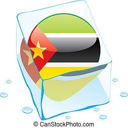 mozambique flag frozen in ice