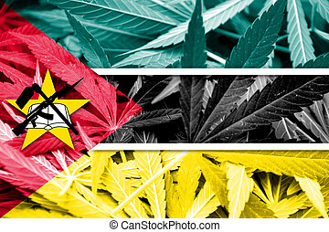 Mozambique Flag on cannabis background. Drug policy. ...