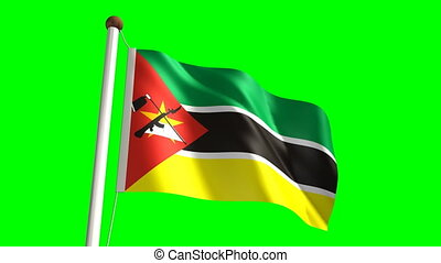 Mozambique flag (seamless & green screen)