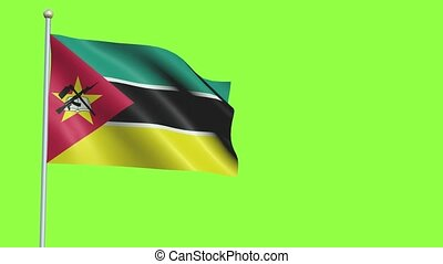 Mozambique Flag in 3D render with green screen background in Slow Motion
