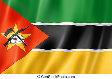 Mozambique flag, three dimensional render, satin texture