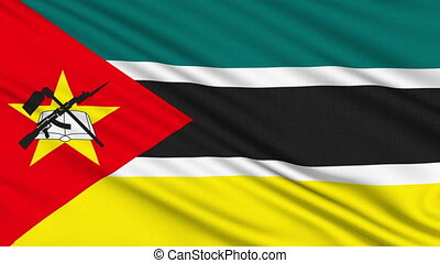 Mozambique Flag, with real structure of a fabric