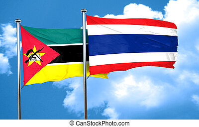 Mozambique flag with Thailand flag, 3D rendering