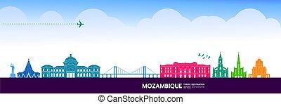 mozambique, illustration., vector, magnífico, viaje destino