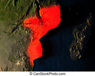 Mozambique in red from space at night