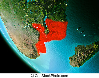 Mozambique in red in the evening