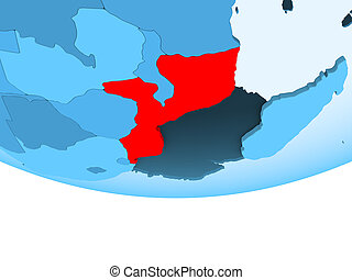 Mozambique in red on blue map