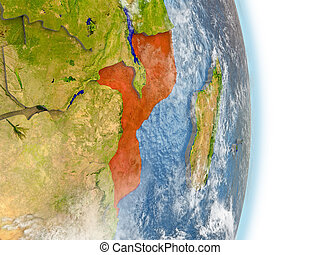 Mozambique in red on Earth