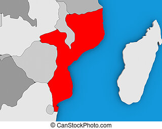 Mozambique in red on globe