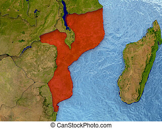 Mozambique in red
