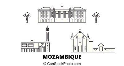Mozambique line travel skyline set. Mozambique outline city vector illustration, symbol, travel sights, landmarks.