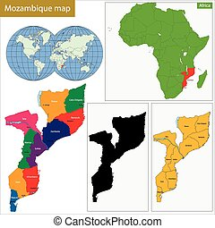 Mozambique map - Administrative division of the Republic of ...