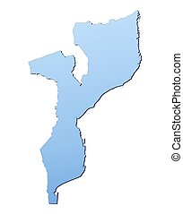 Mozambique map filled with light blue gradient. High ...