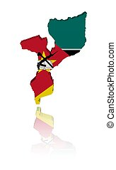 Mozambique map flag with reflection - Mozambique map flag 3d...