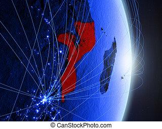 Mozambique on blue blue digital Earth