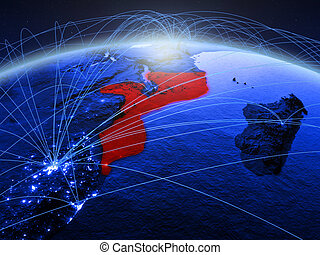 Mozambique on blue blue digital globe