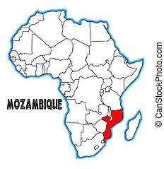 Mozambique outline inset into a map of Africa over a white ...