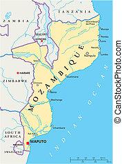 mozambique, político, mapa