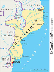 Political map of Mozambique with capital Maputo, with national borders, most important cities, rivers and lakes. Illustration with English labeling and scaling.