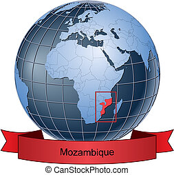Mozambique, position on the globe Vector version with ...
