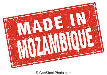 Mozambique red square grunge made in stamp